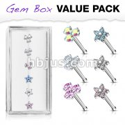 6 Pcs of Three Prong Set Round CZ Triangle and Five CZ Flower Top 316L Surgical Steel 20ga Nose Stud Rings Gem Box Package