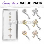 6 Pcs of CZ Cross and CZ Flower with Double Tiered CZ Center Top 316L Surgical Steel 20 Gauge Nose Stud Rings Gem Box Package