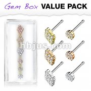 6 Pcs Pre Loaded CZ Paved Circle and Diamond 316L Surgical Steel Nose Stud Rings Gem Box Package