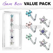 6 Pcs Pre Loaded Assorted L Bend 316L Surgical Steel Nose Stud Rings Gem Box Package