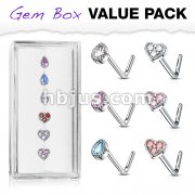 6 Pcs of Tear Drop CZ and CZ Set Heart Top 316L Surgical Steel L Bend Nose Stud Rings Gem Box Package