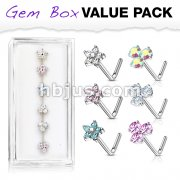 6 Pcs of CZ Flower and 3 Prong Set CZ Top 316L Surgical Steel L Bend Nose Stud Rings Gem Box Package