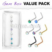 7 pcs Pre Loaded Gem Box Value Pack Opal Set 316L surgical Steel L Bend Nose Stud Rings