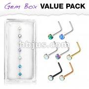 7 pcs Pre Loaded Gem Box Value Pack Opal Set 316L surgical Steel L Bend Nose Stud Rings