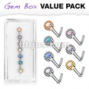 7 Pcs of Opal Set Round Top 316L Surgical Steel L Bend Nose Stud Rings Gem Box Package