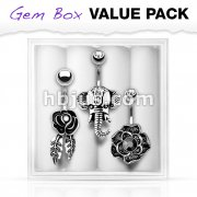 3 Pcs Pre Loaded Assorted 316L Surgical Steel Belly Navel Ring Gem Box Package