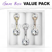 3 Pcs Pre Loaded Assorted Internally Threaded 316L Surgical Steel Belly Navel Ring Gem Box Package