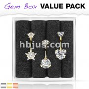 3 Pcs Pre Loaded Assorted 316L Surgical Steel Internal Thread Top Double Jeweled Belly Ring Gem Box Package