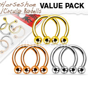 Value Pack Three Pairs 316L Surgical Steel Horseshoes. Polished, Gold IP and Rose Gold IP