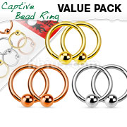 Value Pack 3 Pairs Annealed 316L Surgical Steel Captive Bead Rings. Polished, Gold IP and Rose Gold IP pack