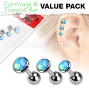 3 Pcs Value Pack 316L Surgical Steel Cartilage Barbells with Opal Set Top