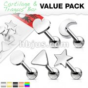 5 Pcs Value Pack of Assorted 316L Cartilage/Tragu Bar with Mixed Shapes Top