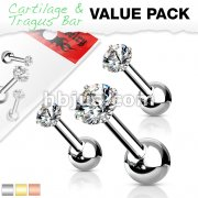 3 Pcs Value Pack of Assorted 316L Cartilage/Tragus Bar with Prong Set CZ Top