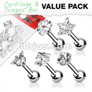 5 Pcs Value Pack of Assorted 316L Cartilage/Tragus Bar with Prong Set Mixed CZ Top