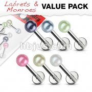 5 Pcs Value Pack of Assorted 316L Surgical Steel Labret Monroe with Pearly Coat Acrylic Balls