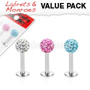 3 Pcs Value Pack of Assorted 316L Surgical Steel Internally Threaded Ferido Crystal Top Labret Monroe