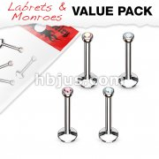 4 Pcs Value Pack of Assorted Internally Threaded Monroe with Press Fit 2mm Gem.