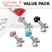4 Pcs Value Pack of Assorted 316L Surgical Steel Internally Threaded Labret with Prong Set Gem Top