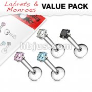 4 Pcs Value Pack of Assorted 316L Surgical Steel Internally Threaded Square Cut Gem Prong Set Labret