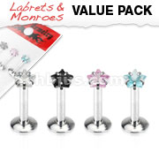 4 Pcs Value Pack of Assorted 316L Surgical Steel Internally Threaded Star Gem Prong Set Labret