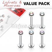 5 Pcs Value Pack of Assorted 316L Surgical Steel Crystal Set Ball Top Labret Monroe 16ga 1/