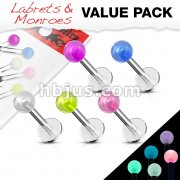 5 Pcs Value Pack of Assorted Glow in the Dark Ball 316L Steel Labret & Monroe