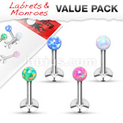 Value Pack 4 Pcs Internally Threaded 316L Surgical Steel Labret/Monroe with Opal Bal Top