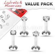 Value Pack 4 Pcs Internally Threaded 316L Surgical Steel Labret/Monroe with Prong Set CZ To