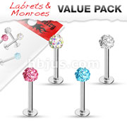 Value Pack 4 pcs Crystal Paved Ferido Ball 316L Surgical Steel Labret/Monroe