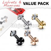 4 Pcs Value Pack Internally Threaded Round Prong Top Gem Labret Monroe Titanium IP Over 316L Surgical Steel