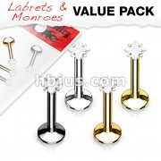 4 Pcs Value Pack Internally Threaded Square Prong Top Gem Labret Monroe Titanium IP Over 316L Surgical Steel