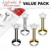 4 Pcs Value Pack Internally Threaded Star Prong Top Gem Labret Monroe Titanium IP Over 316L Surgical Steel