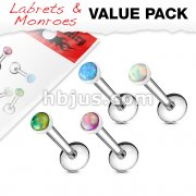 4 Pcs Value Pack Internally Threaded Opal Set 316L Surgical Steel Labret, Flat Back Studs