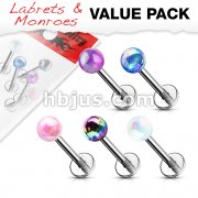 5 Pcs Value Pack Metallic AB Coating Ball 316L Surgical Steel Labret, Flat Back Studs