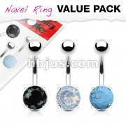 3 Pcs Value Pack of Assorted Precious Stone Prong Set Navel Ring