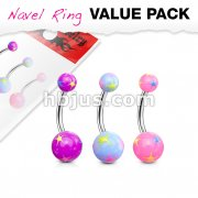 3 Pcs Value Pack of Assorted Color Starburst Acrylic Navel Ring
