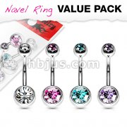 4 Pcs Value Pack of Assorted Color 316L Surgical Steel Double Gem Ball Navel Ring