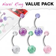 5 Pcs Value Pack of Assorted Color 316L Surgical Steel Navel Ring with Acrylic Color Ultra Glitter Ball