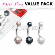 3 Pcs Value Pack of Assorted Color 316L Surgical Steel Navel Ring with Faux Pearl Balls
