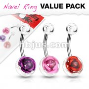 3 Pcs Value Pack of Assorted Color 316L Surgical Steel Navel Ring with Metal Rose Embedded in Clear Acrylic Ball
