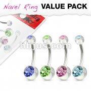 4 Pcs Value Pack of Assorted CZ Color 316L Surgical Steel Navel Rings with Double CZ Clear Acrylic Balls