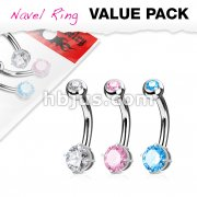3 Piece Value Pack Round CZ Prong Set 316L Surgical Steel Belly Button Navel Ring Pack
