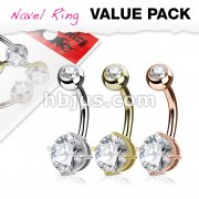 3 Piece Value Pack Round CZ Prong Set 14Kt. Gold Plated Over316L Surgical Steel Belly Button Navel Ring Pack
