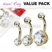 3 Piece Value Pack Mixed SizeRound CZ Prong Set 316L Surgical Steel Belly Button Navel Ring Pack
