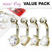 4 Pcs Value Pack Mixed Shape Solitare CZ Set Belly Rings including Round, Heart, Star and Tear Drop Shape CZ