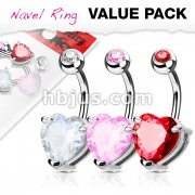 3 Piece Value Pack Heart CZ Prong Set 316L Surgical Steel Belly Button Navel Ring Pack