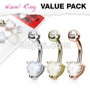3 Piece Value Pack Heart CZ Prong Set 14Kt. Gold Plated316L Surgical Steel Belly Button Navel Ring Pack