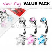 3 Piece Value Pack Star CZ Prong Set 316L Surgical Steel Belly Button Navel Ring Pack