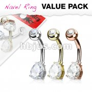 3 Piece Value Pack Tear Drop  CZ Prong Set 316L Surgical Steel Belly Button Navel Ring Pack