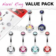 6 Pcs Value Pack Double Jeweled 316L Surgical Stainless Steel Navel Rings